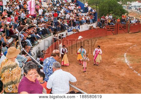 People Spectators Of A Bullfight At Valladolid On Yucatan, Mexico