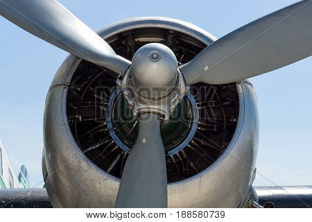 BERLIN GERMANY - MAY 21 2014: Engine Pratt & Whitney R-1830-S1C3G Twin Wasp aircraft of a airliner Douglas DC-3. Exhibition ILA Berlin Air Show 2014