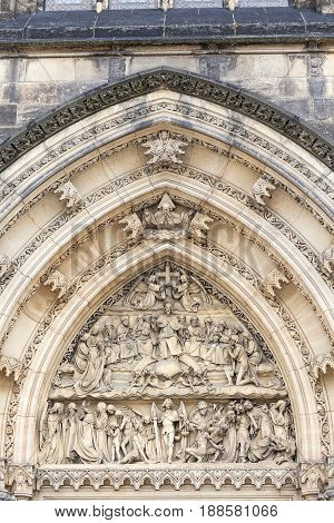 Basilica of St. Peter and St. Paul Vysehrad details of the portal Prague Czech Republic