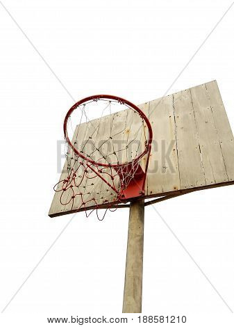 basketball hoop on white isolated background in the morning