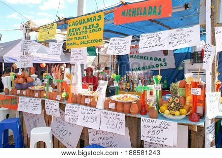 Alcohol Cocktail Stand At A Bullfight In Valladolid On Mexico