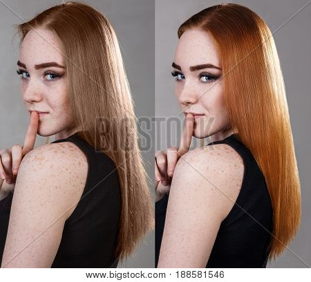 Comparative portrait of woman before and after dyeing and treatment hairs. Over gray background.