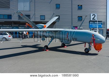 BERLIN GERMANY - MAY 21 2014: Turkish UAV ANKA Multi-Role ISR System. Turkish Air Force. Exhibition ILA Berlin Air Show 2014