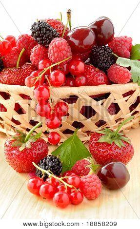Lug Full of Fresh Strawberries, Raspberries, Cherries, Mulberries and Red Currants