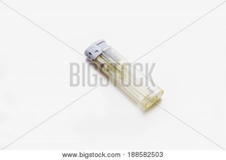 Close up white sigarette lighter isolated on white background