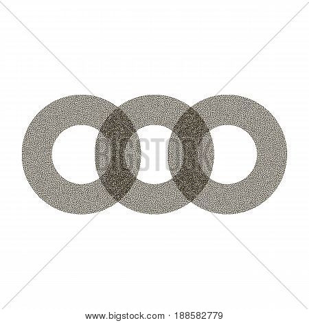 Three Rings Of Black Dots. Abstract Circles. White Background. Stipple Effect. Vector Illustration