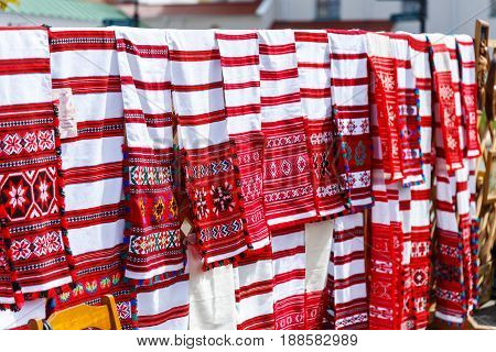 Embroidered towels and handkerchiefs with Belarusian national ornament