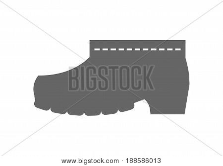 Rubber boots, protective shoes. Flat icon or object of clothing to design. Illustration