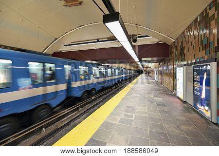 Montreal Metro At Honore-beaugard Subway Station