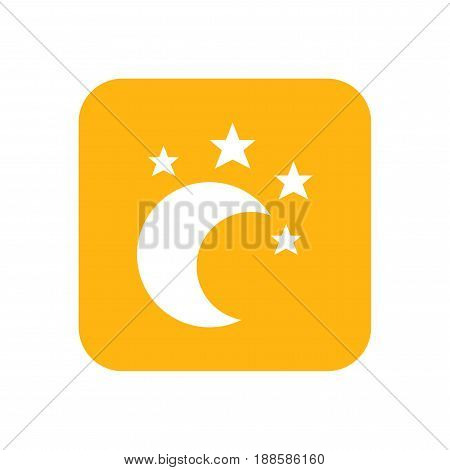 Moon and star, lullaby. Good night. Flat color icon. Baby items for newborns.