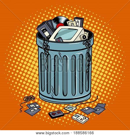 Old gadgets in trash can pop art style vector illustration. Comic book style imitation.