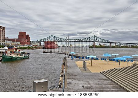 View Of Old Montreal's Beach, Buildings, St. Lawrence River And