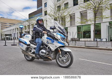 Security Police Motorbike In Montreal Streets
