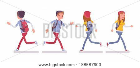 Teenager boy and girl wearing cute beanie and urban messenger rucksack, casual slim fit, smiling, running pose, front, rear view, vector flat style cartoon illustration, isolated, white background
