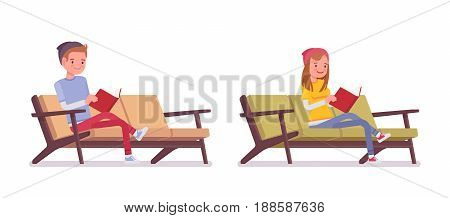 Teenager boy and girl wearing cute beanie and urban casual slim fit dressing, sitting pose, reading a book, resting on the sofa, vector flat style cartoon illustration, isolated, white background