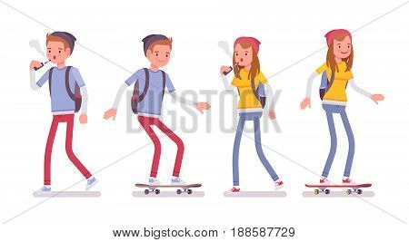 Teenager boy and girl wearing cute beanie, messenger rucksack, casual slim fit, walking, having fun, skateboarding, vaping, vector flat style cartoon illustration, isolated, white background