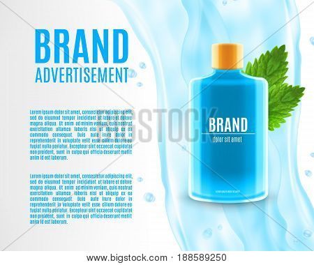 Mouth rinse ads. Refreshing mouthwash product with leaves of mint and water splash. Design for ads or magazine. 3d illustration. EPS10 vector