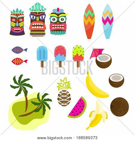 Hawaii tropic colorful clipart vector. Tiki mask, ice cream, palms, surf board and exotic summer fruits.