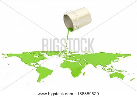 Can with green paint spilled on the map Earth 3D rendering