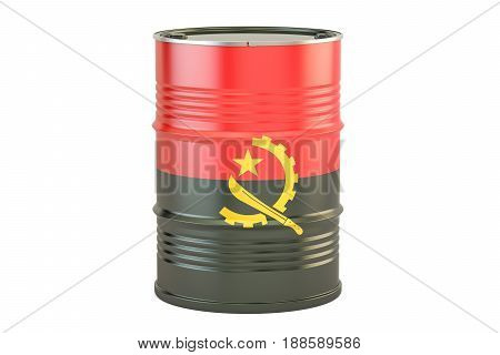 Oil barrel with flag of Angola. Oil production and trade concept 3D rendering