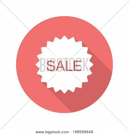 Sale red sticker. Flat design long shadow icon. Promotion banner. Vector silhouette symbol