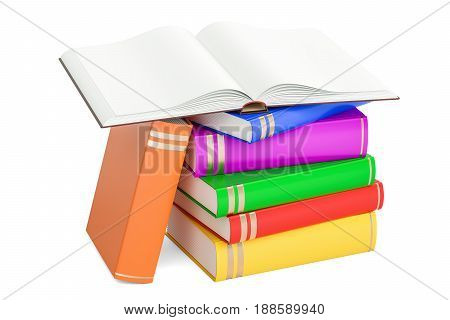 Opened blank book with heap of closed books 3D rendering isolated on white background
