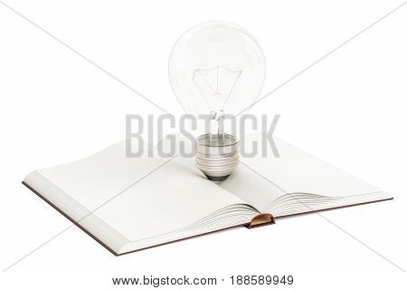 Opened blank book with lightbulb 3D rendering isolated on white background