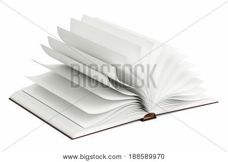 Opened blank book 3D rendering isolated on white background