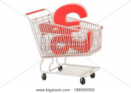 Shopping cart with pound sterling symbol 3D rendering isolated on white background