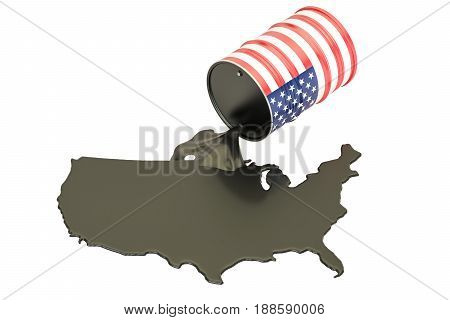 USA map with oil and barrel. Oil production concept. 3D rendering