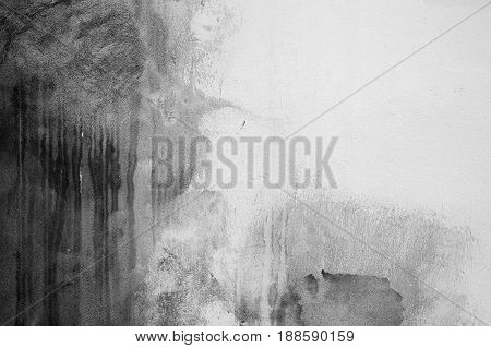 Old White Concrete Wall With Dark Stains