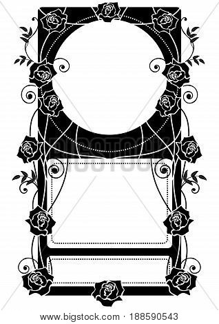 vector frame with roses in black and white