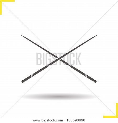 Crossed billiard cues glyph icon. Drop shadow silhouette symbol. Negative space. Vector isolated illustration