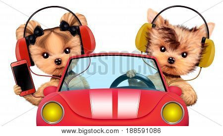 Couple of puppies sitting in the cabriolet with headphones, isolated on white background. Vacation and travel concept concept. Realistic 3D illustration