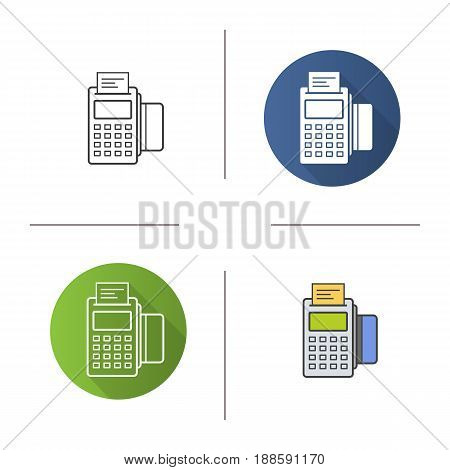 Pos terminal icon. Flat design, linear and color styles. Store payment terminal with check and credit card. Isolated vector illustrations