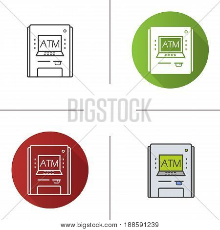 Atm machine icon. Flat design, linear and color styles. Bank cash machine. Isolated vector illustrations