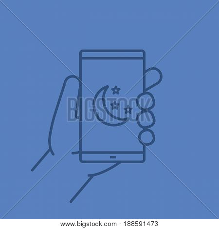 Hand holding smartphone color linear icon. Smart phone night mode. Thin line contour symbols on color background. Vector illustration