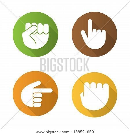 Hand gestures flat design long shadow icons set. Squeezed and raised fists, hands pointing right and up. Vector silhouette illustration