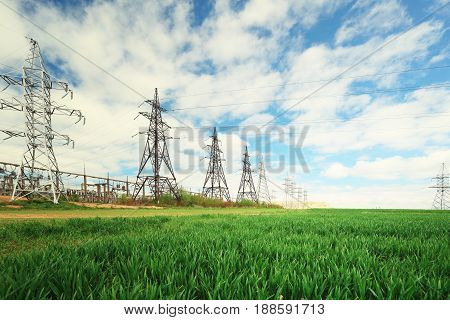 Group of electric lines on summer sky background. Electric towers in green field on sunny day