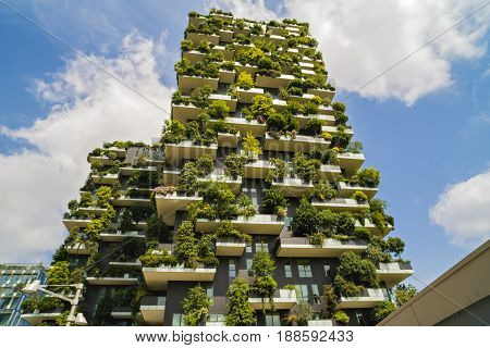 Milan, Italy - May 28, 2017: Bosco Verticale (vertical Forest) Low View. Designed By Stefano Boeri,
