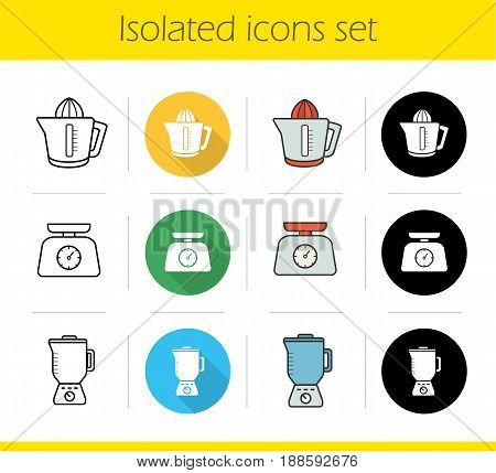 Kitchen electronics icons set. Flat design, linear, black and color styles. Kitchen food scales, juicer, blender. Isolated vector illustrations