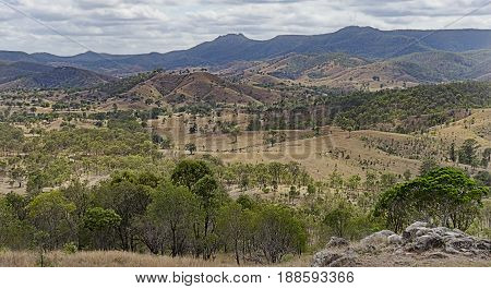 Mountainous hilly landscape view of the Great Dividing Range from Mount Perry lookout Queensland Australia
