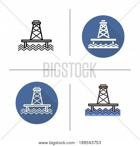 Offshore sea well icon. Flat design, linear and color styles. Isolated vector illustrations