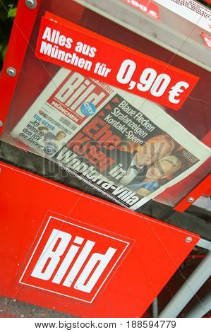 MUNICH GERMANY - MAY 6 2017 : Newspaper vending machine with tabloid Bild in Munich Germany.