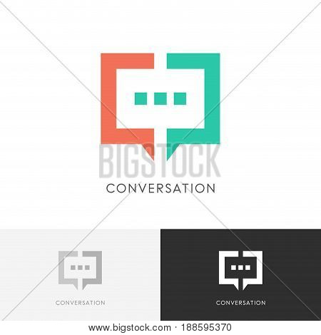 Good conversation logo - colored chat symbol. Discussion, dialogue and talk vector icon.
