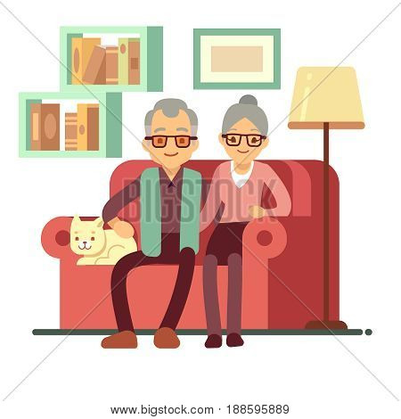 Old happy family - husband and wife on sofa at home. Retirement vector concept. Family love husband and wife on sofa, couple lifestyle illustration