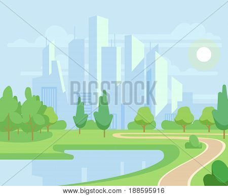 Spring or summer nature and green trees in city park with urban skyline vector illustration. Natural park with pond and green tree