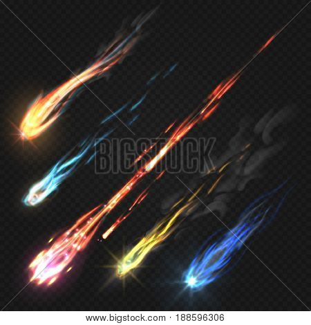 Sky comets and meteorite, rocket trails isolated on dark transparent background. Meteorite and colored asteroid fall illustration