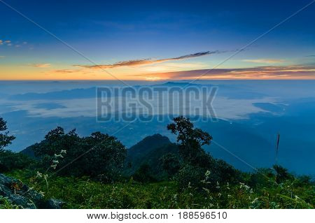 sunrise atThailand's northern landscape view of the mountian's top