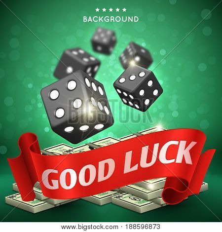 Casino dice gambling vector background. Good luck concept. Dice game gamble illustration banner